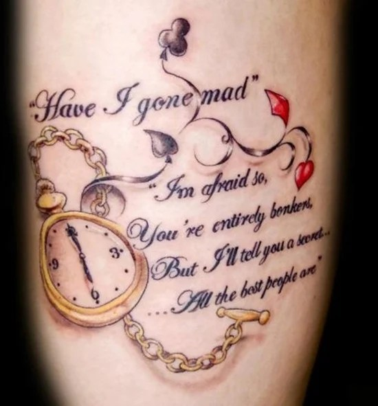 30 Alice In Wonderland Tattoo Designs With Meaning Ideas And Designs