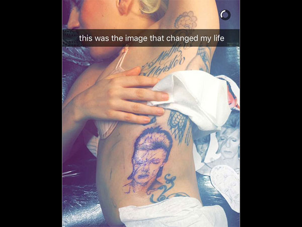 Lady Gaga Gets A David Bowie Face Tattoo On Her Rib Cage Ideas And Designs