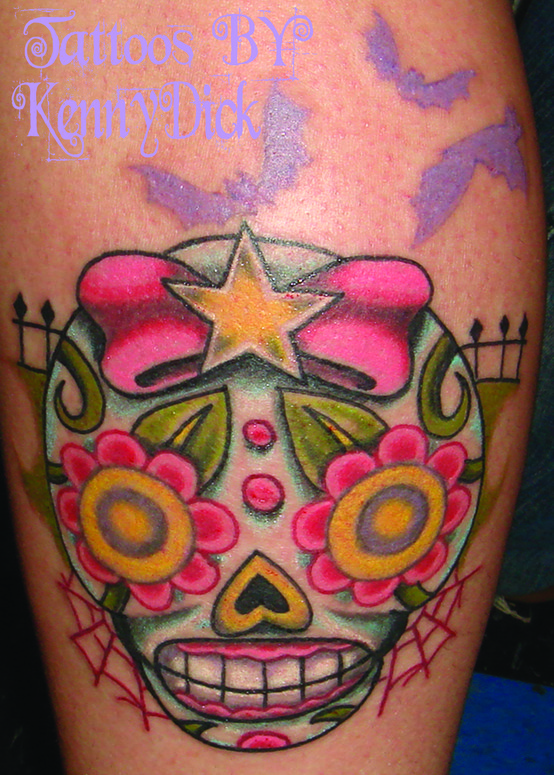 Girly Sugar Skull By Kenny D*Ck Tattoonow Ideas And Designs