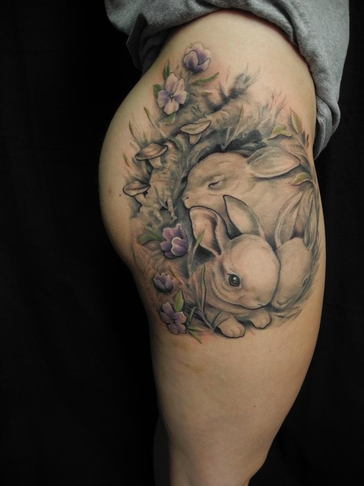 Adorable Cute Bunnies Tattoo On Thigh Tattooimages Biz Ideas And Designs