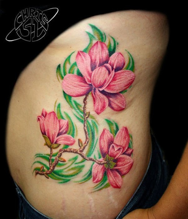 Natural Looking Colored Side Tattoo Of Big Flower Branch Ideas And Designs