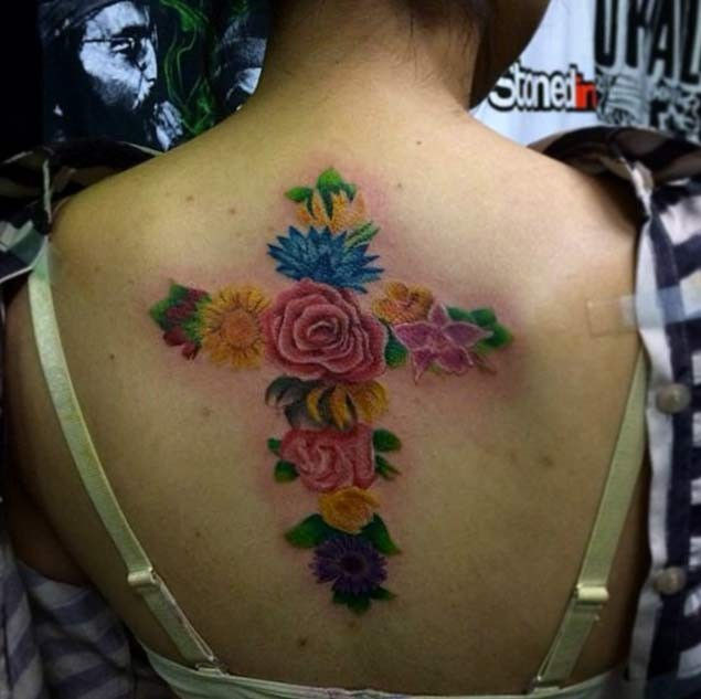 Unique Multicolored Big Cross Shaped On Back Tattoo Of Ideas And Designs