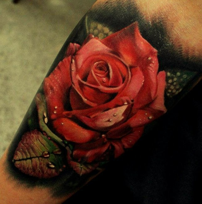 3D Red Rose Tattoo Ideas And Designs