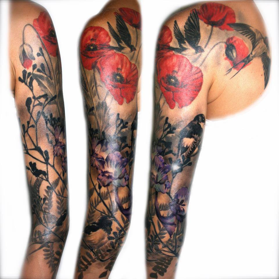 Flying Bird Sleeve Tattoo For Girls Cool Tattoos Online Ideas And Designs