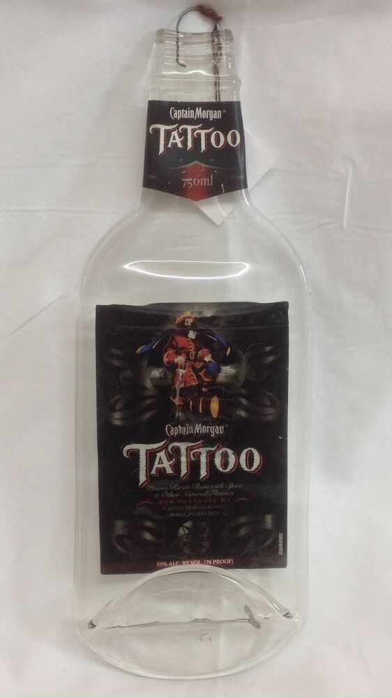Melted Flat Fused Captain Morgan Tattoo Liquor Bottle Ebay Ideas And Designs