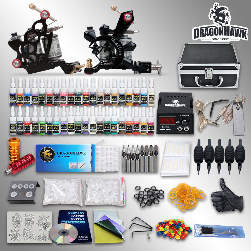 Complete Tattoo Kit 2 Top Machine Gun 40 Color Ink Power Ideas And Designs