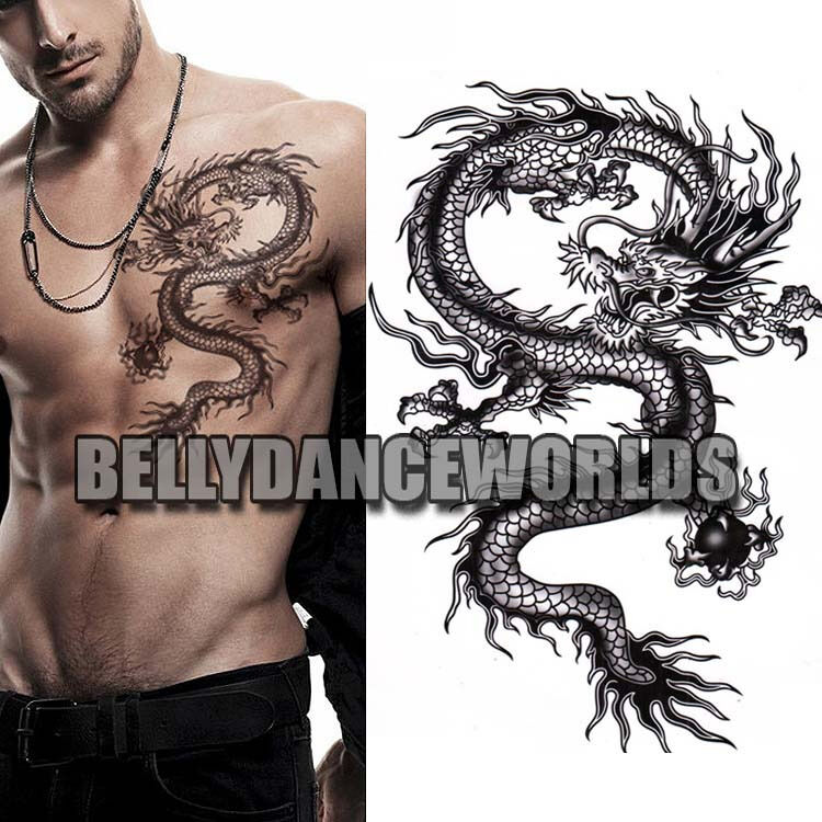 Large Black Dragon Arm Leg Body Tattoo Temporary Sticker Ideas And Designs