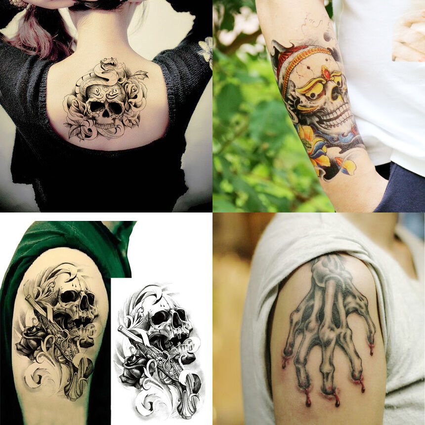 4 Sheets Set Large 3D Skull Temporary Tattoos Sticker Body Ideas And Designs