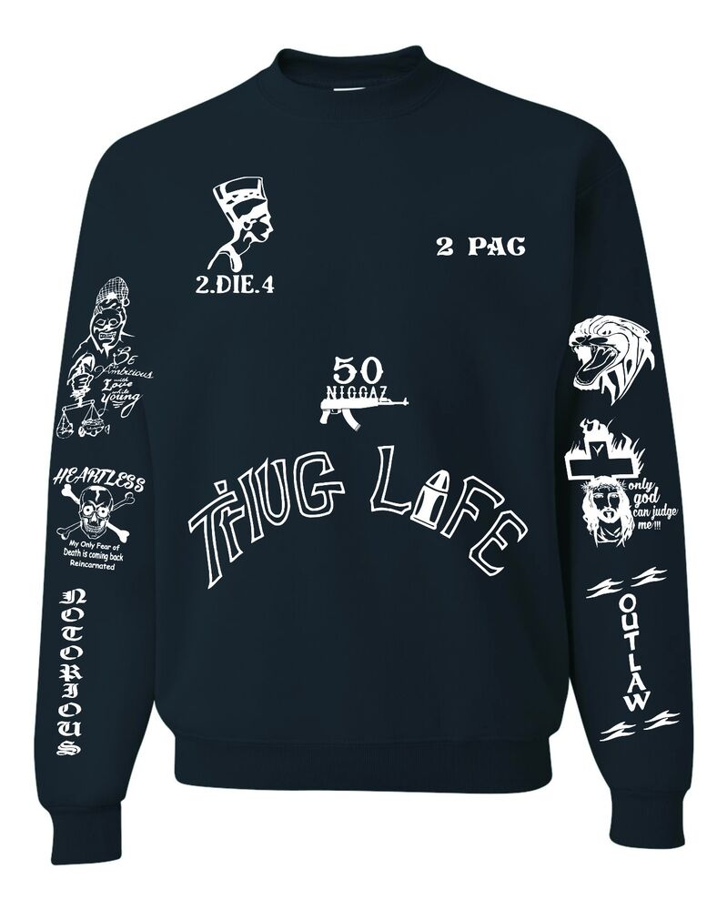 2Pac Tattoos Unisex Black Sweatshirt Only Front Design Ideas And Designs
