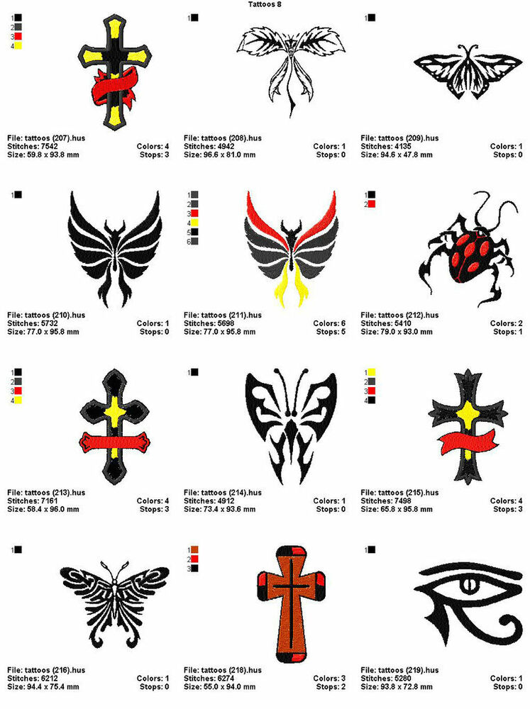 48 Tattoos 4X4 Volume 8 Mega Embroidery Designs On Cd Ebay Ideas And Designs
