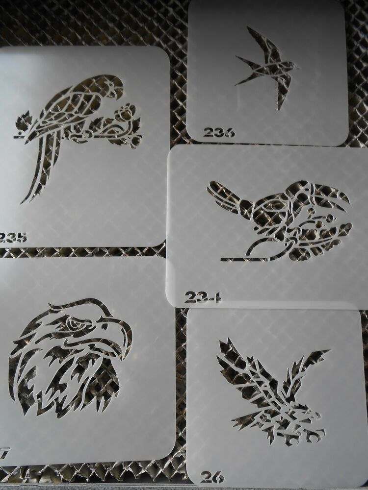 Airbrush Temporary Tattoo Stencil Set 4 Parrots New By Ideas And Designs