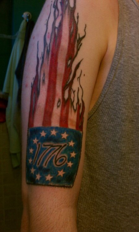 """Fyeahtattoos Com — My """" 776"""" Betsy Ross Flag Tattoo Ideas And Designs"""