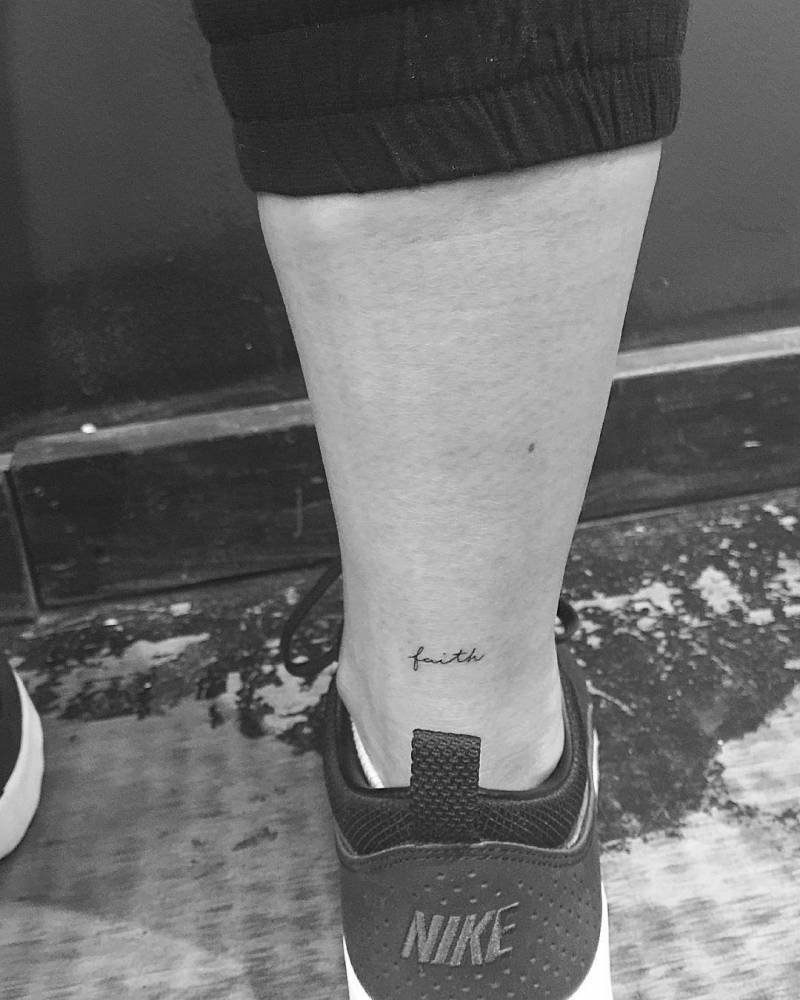 """Faith"" Tattoo On The Right Achilles Heel Tattoo Ideas And Designs"