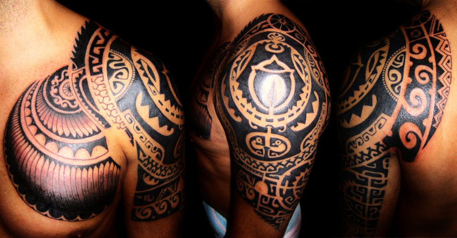 Chest And Shoulder Tribal Tattoo For Men Ideas And Designs