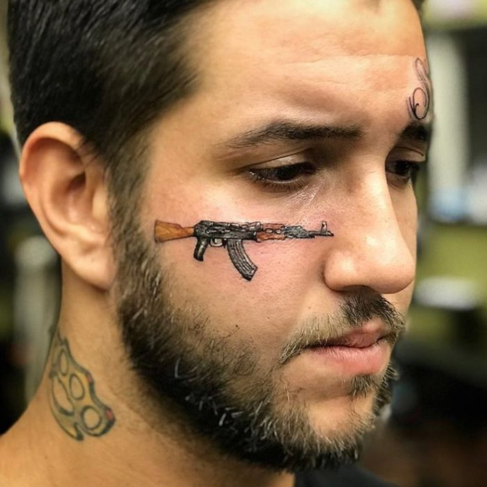 Potd Ak 47 Face Tattoo The Firearm Blogthe Firearm Blog Ideas And Designs