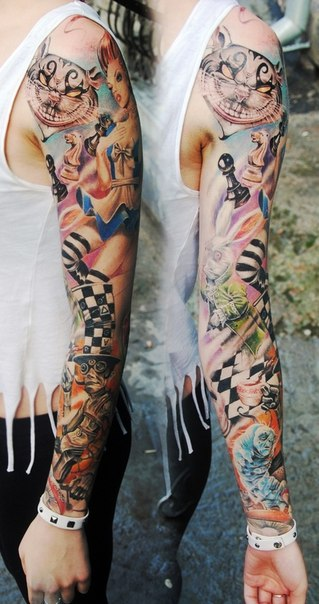 Stylish Alice In Wonderland Tattoo Sleeve Best Tattoo Ideas And Designs