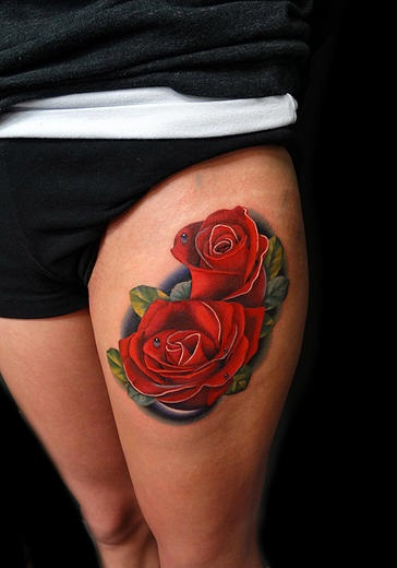 Thigh Two Roses Tattoo By Andres Acosta Best Tattoo Ideas And Designs