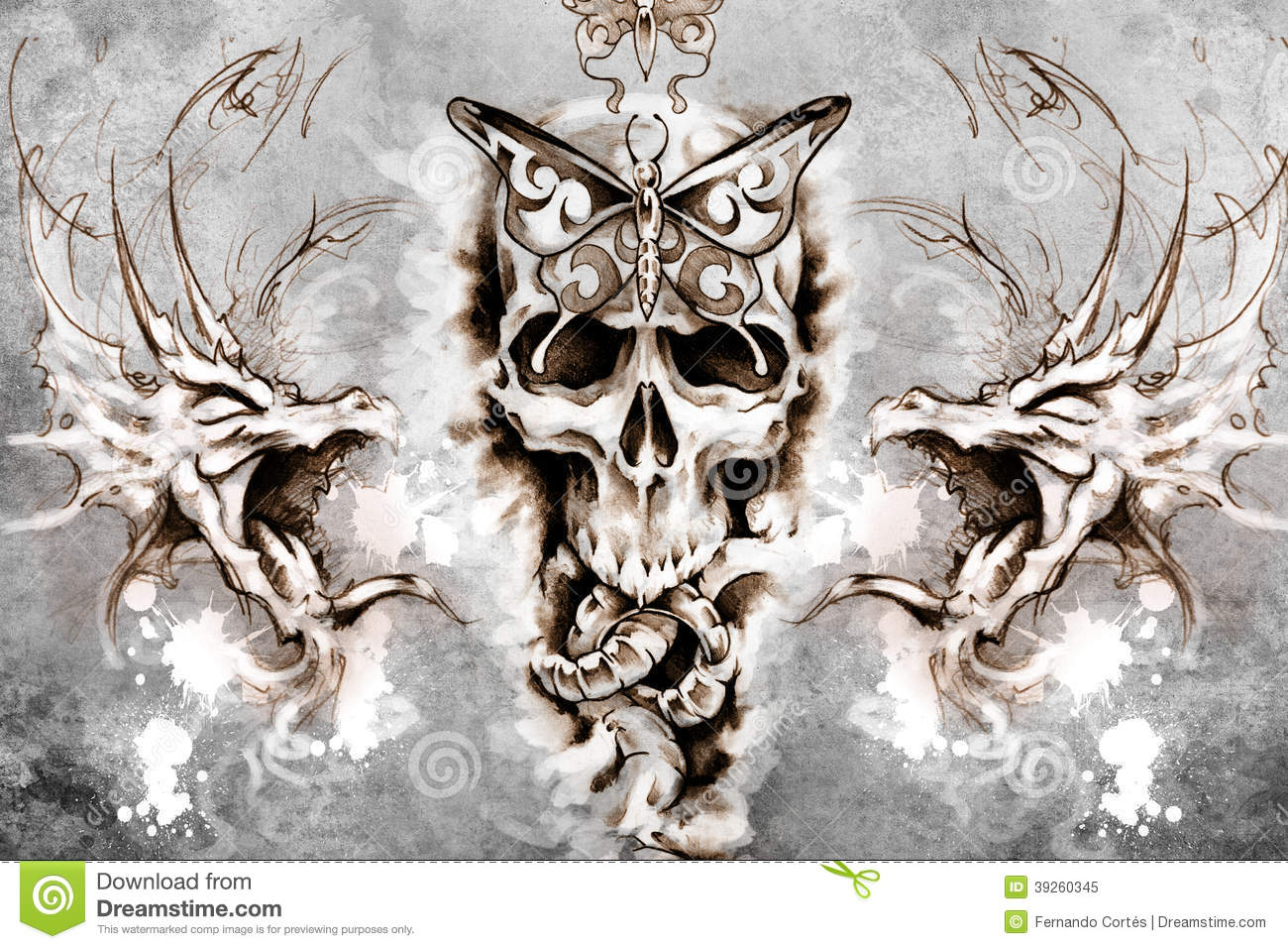 Death Tattoo Design Over Grey Background Textured Ideas And Designs