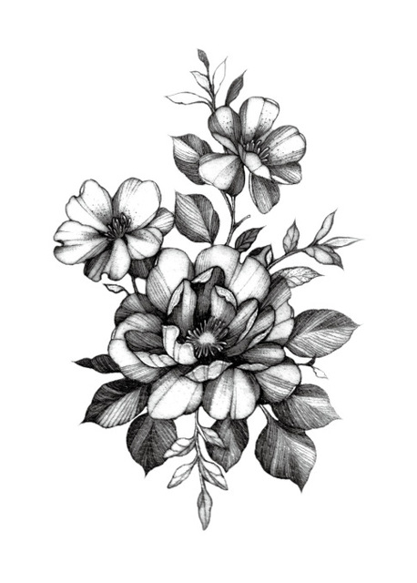 Temporary Tattoo Sticker Large Size Body Art Sketch Flower Ideas And Designs