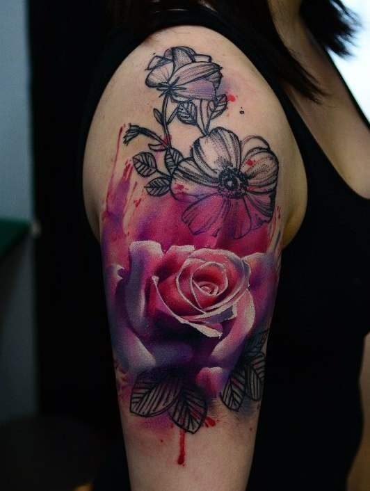 Abstract Flower Tattoo On Sleeve Creativefan Ideas And Designs
