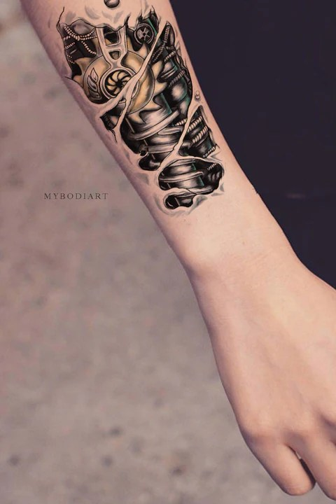 Cool Unique Robot Bionic Forearm Temporary Tattoo Ideas Ideas And Designs