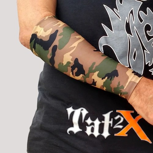 Green Camouflage Tattoo Cover Up Sleeve For Concealing Ideas And Designs