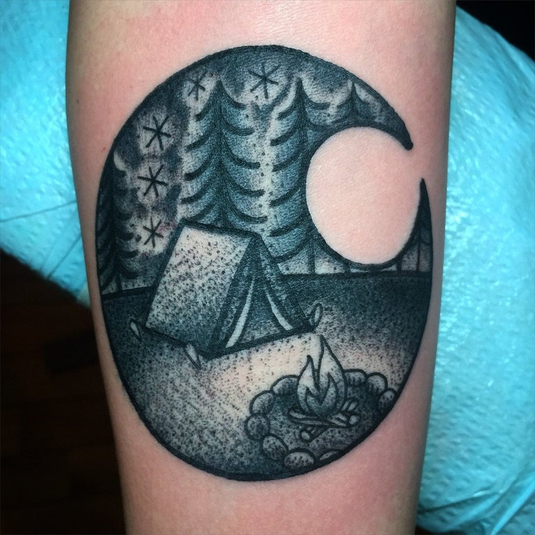 Camping Tattoo By Myself Jenn Small 510 Expert Tattoo Ideas And Designs