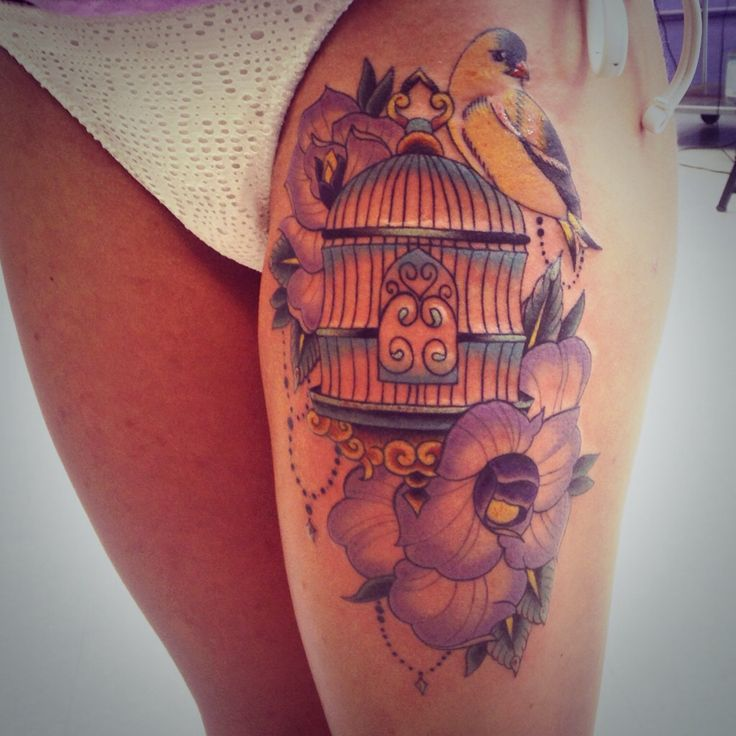My Finished Bird Cage Tattoo Tattoos Cage Tattoos Ideas And Designs
