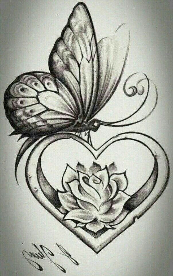 11 Best Butterfly Heart Rose Tattoo Design Images On Ideas And Designs