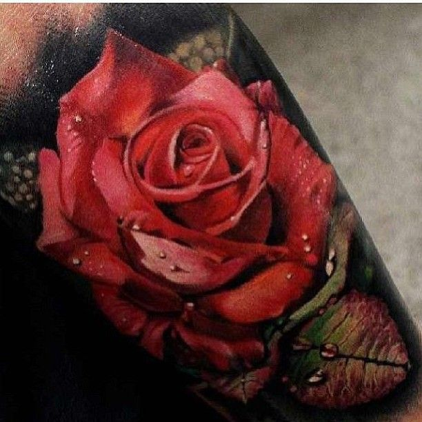 Hyper Realistic Red Rose Done By Mattjordantattoo Ideas And Designs