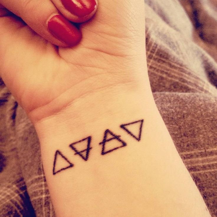 Little Wrist Tattoo Of The Alchemic Symbols Of Four Basic Ideas And Designs