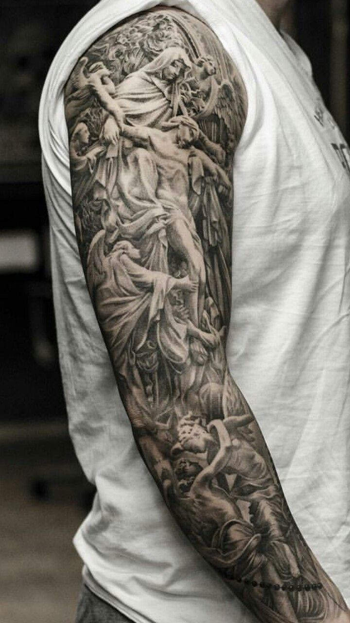 35 Religious Sleeve Tattoos For Guys Ideas And Designs