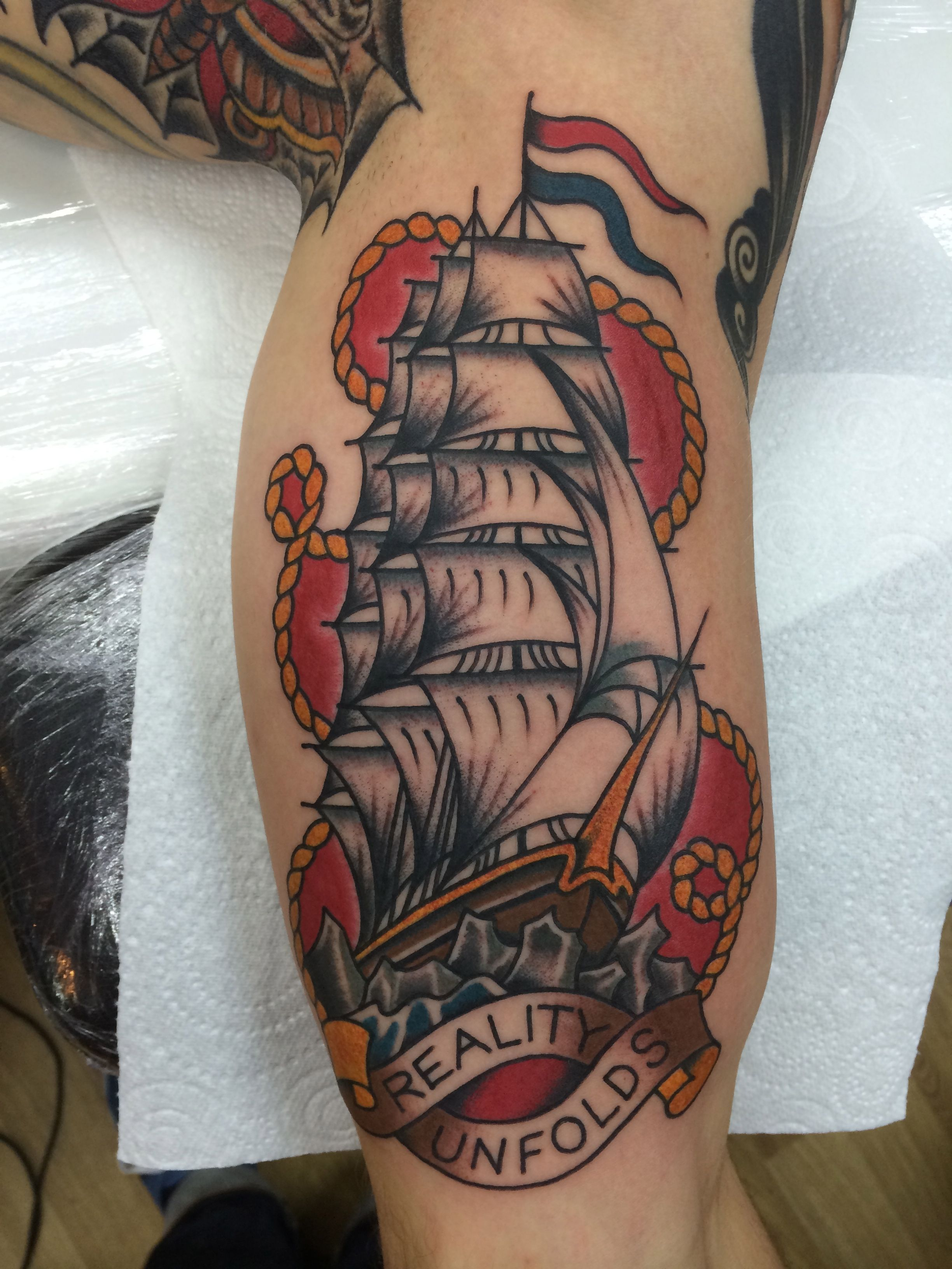 Bradley Tompkins Trad Ship Tattoo Sailor Jerry Style Ideas And Designs