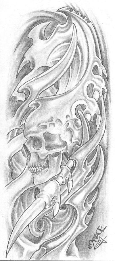 Bio Mecanic Skull Drawings Bio Mechanical Tattoo For Ideas And Designs