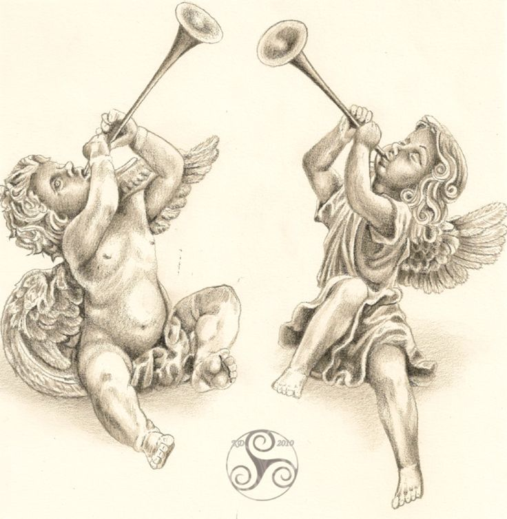 Cherubs With Horn Stuff To Buy Angel Tattoo Designs Ideas And Designs