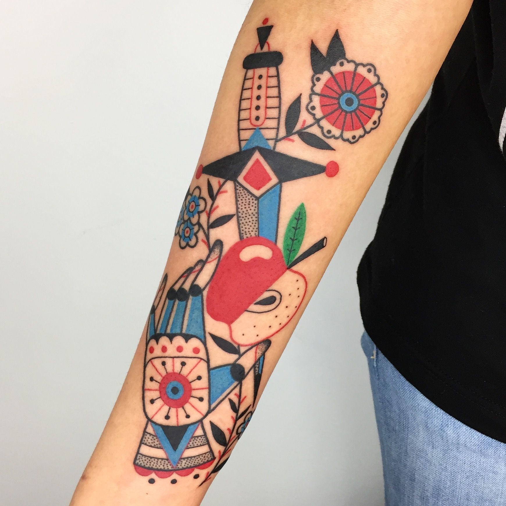 Winston The Whale Hand Apple Dagger And Flower Tattoo Ideas And Designs