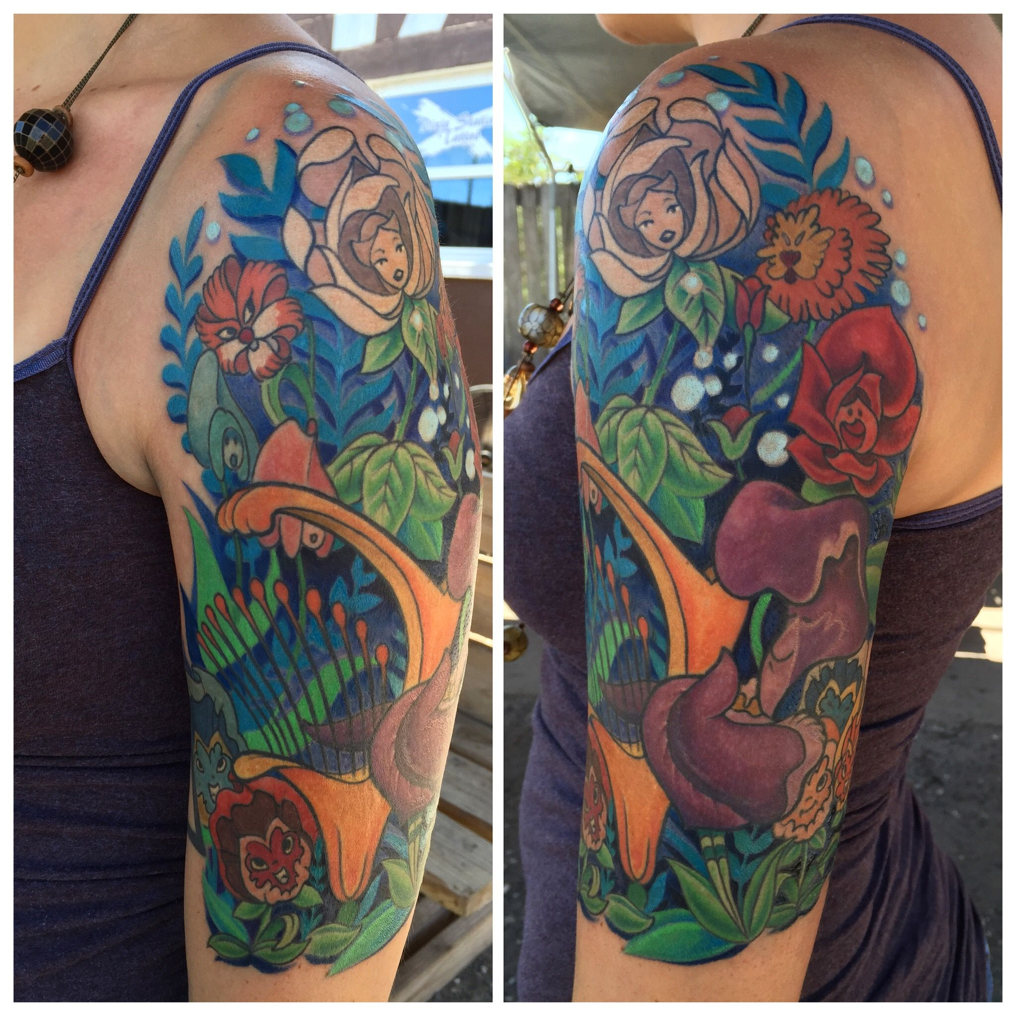 Alice In Wonderland Flower Tattoo Done By Veronica Dey Www Ideas And Designs