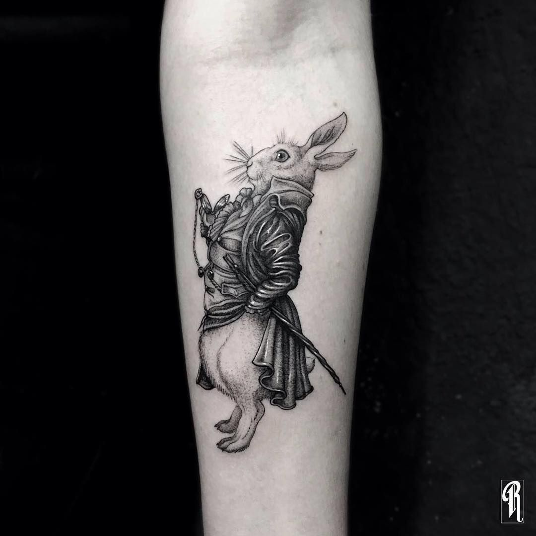 Blackwork Illustration White Rabbit From Alice In Ideas And Designs
