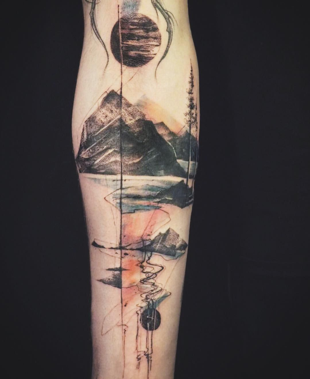 Abstract Mountain Nature Tattoo By Tattooer Nadi On Ideas And Designs
