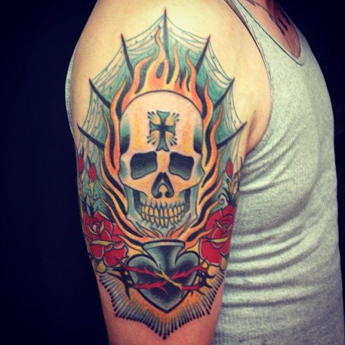 Skull Tattoo By Nate Strautkalns All Star Tattoo 8601 Ideas And Designs