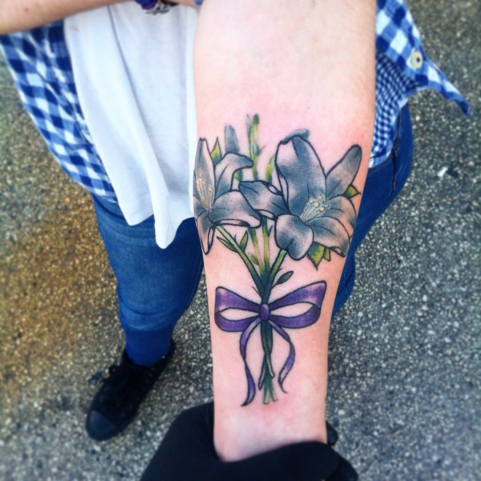 Lily Tattoo Done By Branden Martin At Aces High Tattoo In Ideas And Designs