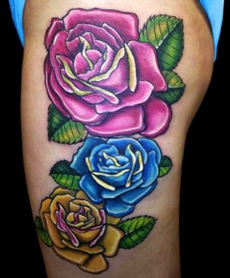 Three Roses On Women S Thighs Tattoos Tattoo Designs Ideas And Designs
