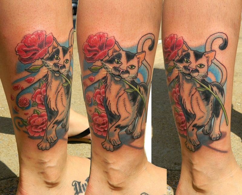 Cat With Camellia Flowers By Sirius Tattoo Tattoos Ideas And Designs