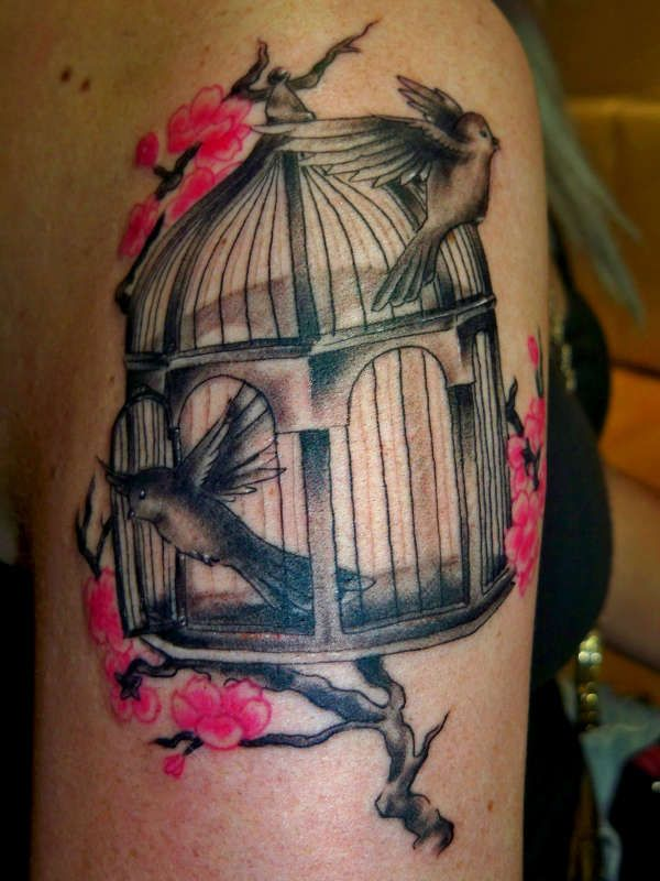 Birds In A Cage With Cherry Blossoms Tattoo Rate My Ink Ideas And Designs