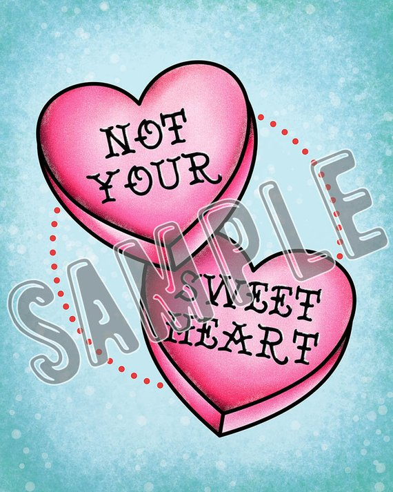 Retro Tattoo Flash Style Not Your Sweet Heart Cute Pink Ideas And Designs