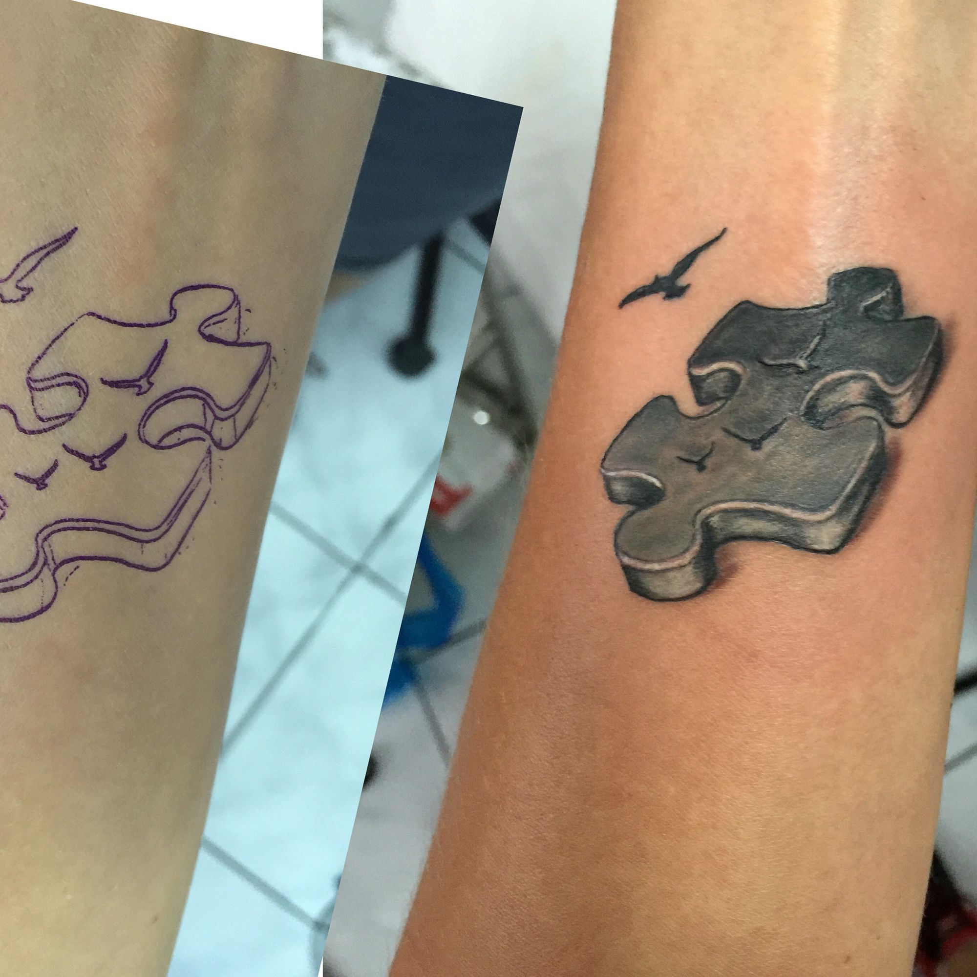 3D Puzzle Piece Tattoo Tattoo Ideas By Tears Of Fenix Ideas And Designs
