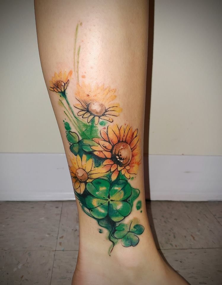 Flower And Four Leaf Clover Tattoo By Siobhan Alexander Ideas And Designs