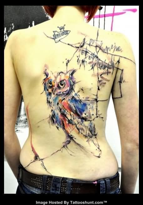 Abstract Owl Tattoo On Back Cool Tattoos Tattoos Ideas And Designs
