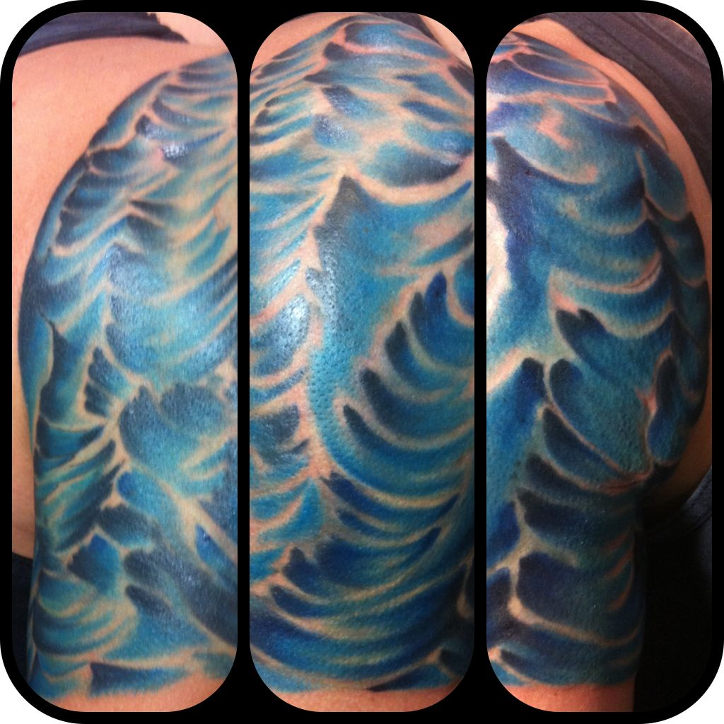 Water 1 4 Sleeve Tattoo I Made Tattoo Made By Sean Ideas And Designs