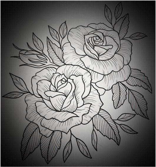 Black And White Outline Of Two Roses With Leaves Tattoos Ideas And Designs